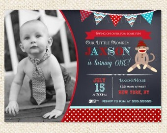 Sock Monkey Chalkboard Birthday Invitation