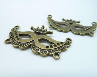 10pcs 21x40mm Antique Bronze  Mask Charm Pendant Connector Link c2167