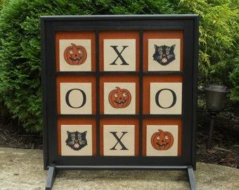 "Large 25"" x 25"" Tic Tac Toe Game Board Primitive Wood Halloween Tic Tac Toe Game Board Folk Art Black Cat Pumpkin Gameboard"