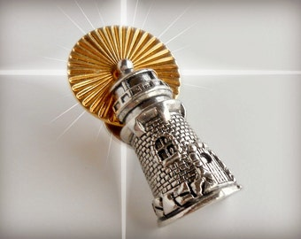 Vintage Pin - Vintage Gold and Silver Lighthouse Pin Brooch - The Wanderlust Collection