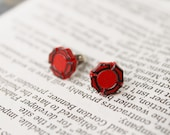 Polymer Clay Earrings... Fire Department Maltese Cross Red