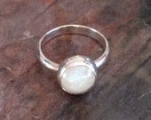 Stack Ring, Gemstone, Cocktail Ring, In Sterling Silver With  White Moonstone size 7