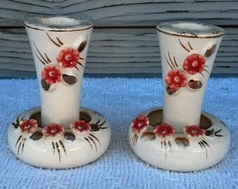 Vintage Tilso Candle Holders Made in Japan Porcelain Candle Stick Holder Dining Room Decor Flower and Gold Design