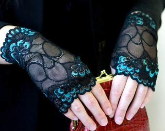 Fingerless lace gloves. Lace Gloves in Black with Tirquoise.  Stretch lace. Bride, bridesmaid, gift for her.  Ready to ship.