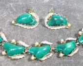 Vintage Coro  Bacelet and Earrings, Deep Jade Green Thermoset Lucite Earrings with Matching Bracelet, Marked Coro