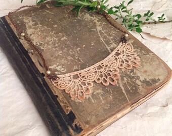 lace necklace - bridal necklace - bib necklace - KRISTEN- ombre ecru blush