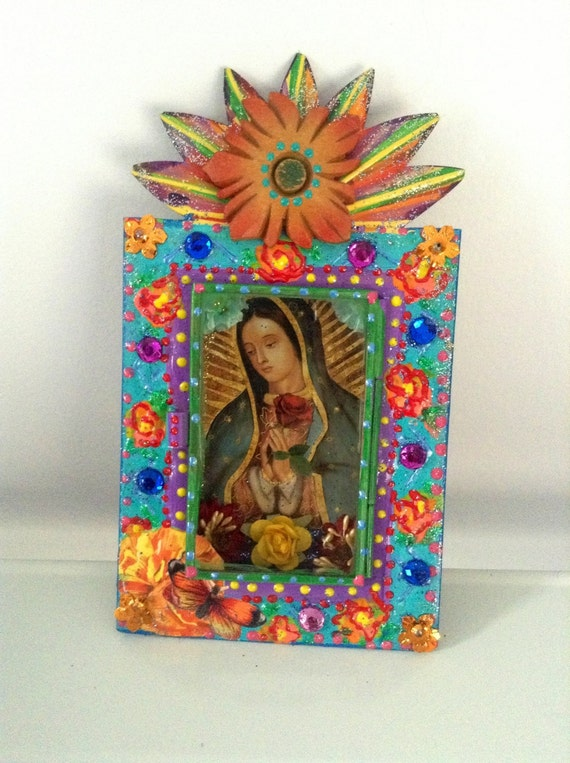 Mexican Tin Nicho Shadow Box Shrine Our Lady Of Guadalupe