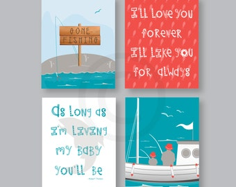 Baby Boy Nursery CANVAS ART, Gone Fishing Art Decor, Father Son fishing, Nautical Wall Decor, fishing, sports boat, anchor 8x10 Gallery Wrap