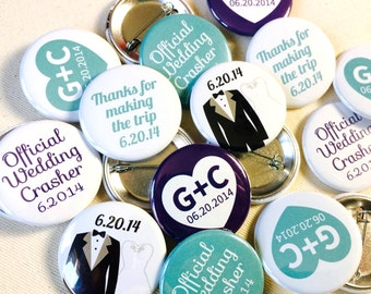 1.5 Inch Custom Button Pins or Magnets. Set of 50. Wedding Favors. Party Favors. Guest Mementos. Pinback Badges.