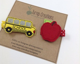 Back to School Hair Clips Apple & School Bus Felt Hairclip Feltie