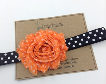 Halloween Headband Shabby Flower Headband Black & Orange Headband Polka Dot Headband Photo Prop Fall Headband