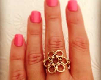 flower of life Ring . Chainmaille ring . Gold Statement ring . gold flower ring.