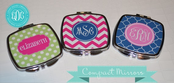 Set of 3 Personalized Compact Mirror with Monogram. Create your Own- Bridal Party Gift, Monogrammed Compact Mirror