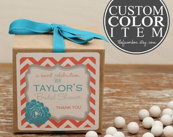 12 - Personalized Favor Boxes - Delilah Label - Custom Color - Bridal Shower Favors, Baby Shower Favor Box, Party Favor Box