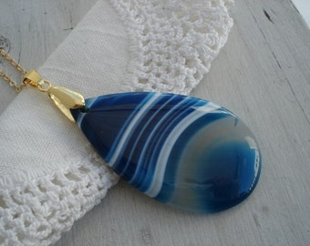 Blue Sky over White Snow Striped Agate Teardrop Pendant Vintage Gold Necklace Nature Inspired