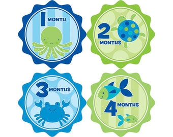 Monthly Stickers, Boys Photo Props, Monthly Baby Stickers, Monthly Baby Photos, Baby Gift, Milestone Stickers, Sea Animals (B015)