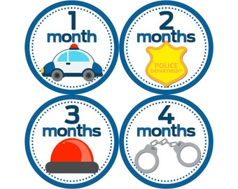Monthly Baby Stickers, Boys First Year Photo Props, Baby Month Stickers, Baby Announcement, Monthly Photos, Baby Gift, Police (B069)