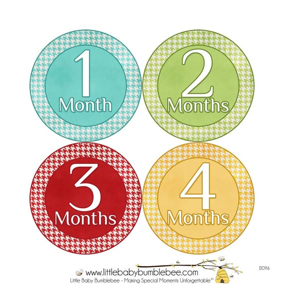 Monthly Baby Stickers, Boys First Year Photo Props, Baby Month Stickers, Baby Announcement, Monthly Photos, Baby Gift, Primary (B096)