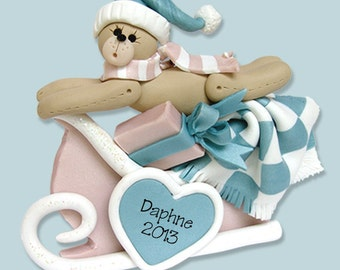 Baby's Personalized Christmas Ornament / BOY or GIRL - Handmade Polymer Clay Ornament