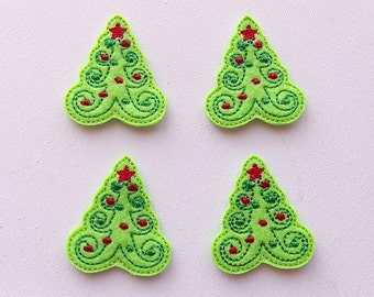 Christmas Tree Felt Stitchie - Green Christmas Felt Applique - Whimsical Christmas Tree Embroidered Felties-UNCUT (Set of 4)