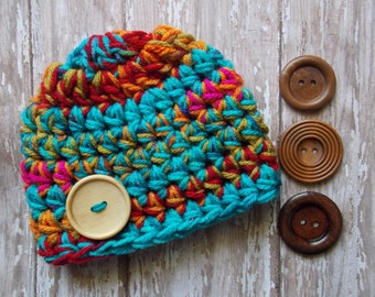 Chunky kaleidoscope baby hat - chunky baby hat - bringing baby home hat - photo prop - made to order