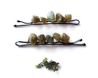labradorite bobby pins - elvish natural bobby pins with green labradorite
