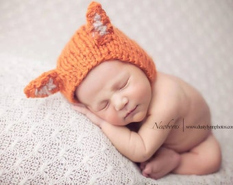 baby boys hats, baby girls hats, fox hat, newborn fox hat, photo props, coming home outfit, baby shower gift, knit fox hat, knit baby hats