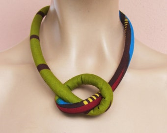 fabric cord necklace  / wax print fabric necklace  / Choker necklace/ Girls gift / mustard yellow and cobalt blue