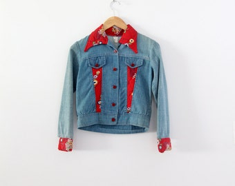 1970s patchwork denim jacket, vintage calico inlay crop jean jacket