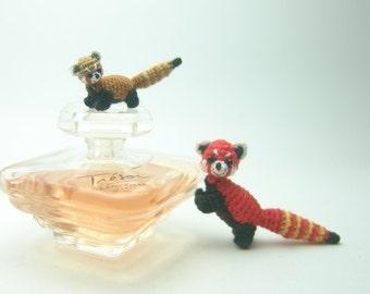 Dollhouse decor 2/3inch tiny crochet red panda - miniature amigurumi animal
