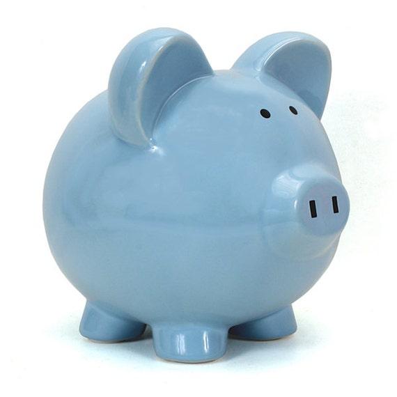 Blue Large Ceramic Piggy Bank By Embellishboutiquellc On Etsy
