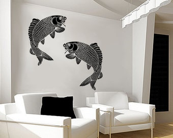 Koi Fish Wall Stencil - Giant Fish - Large, Reusable stencil for DIY Home Decor