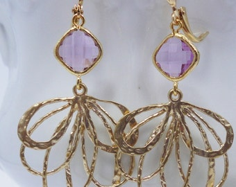 Earrings Lilac Jewels and Gold Fantails old hollywood weddings bridal elegant antiqued vintage style