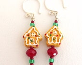 Tiny Gingerbread House earrings - Sterling Silver kidney earwires - red & green crystal glass beads -  Kid's Girl's Children's - brown white