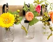 Farmhouse kitchen decor, Hanging mason jars, Fixer upper style, Country kitchen, wall decor, French Country decor, Mason jar decor
