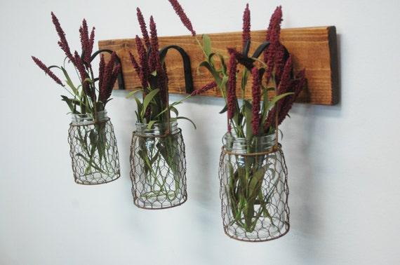 Wire Kitchen Wall Decor : Chicken wire trio mason jar wall decor by pineknobsandcrickets
