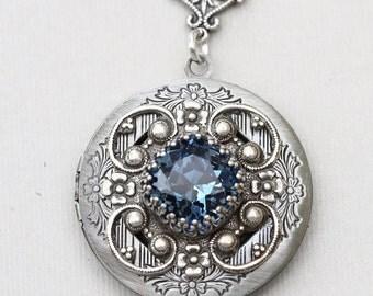Locket Necklace,Sapphire Silver Locket,Jewelry, Birthstone Locket,Sapphire  Rhinestone Locket,Flower,Wedding Necklace,bridesmaid necklace