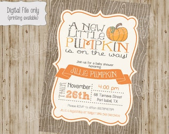 pumpkin baby shower invitation, pumpkin shower, baby shower invitation with pumpkins, fall baby shower, invite, Fall, pumpkin