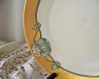 Vintage Cake Plate Art Deco Bavaria 1920s Tirschenreuth Germany Hand Painted Dessert Plate
