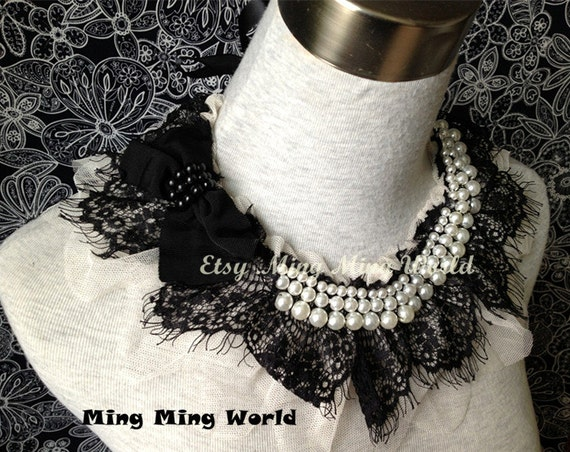Vintage Black Lace and Pearl Handmade Collar(A43)