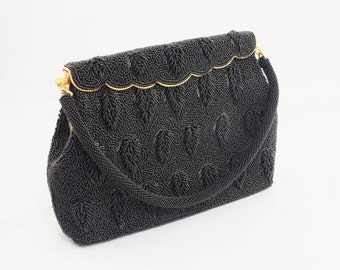 1950s Gorgeous Black Beaded Purse