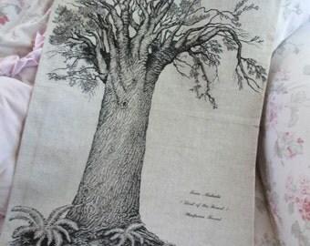 Vintage Printed Souvenir Kitchen Towel - New Zealand Kauri Tree Waipoua Forest Rolatex Linen Q121
