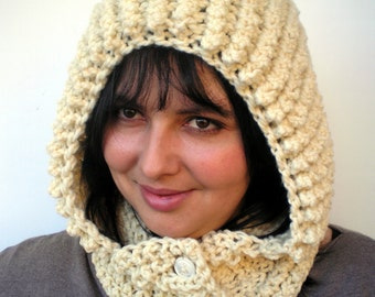 Snow Knit Butter Color  Hoodie Virgin Wool Yarn Hood Woman Hooded Cowl NEW