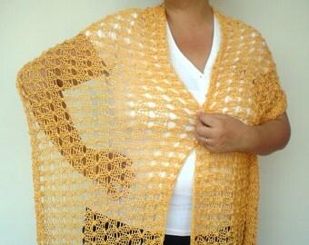 Yellow Lace  Warp Stole  Cotton strend Wrap Scarf Hand Knit  Shoulder Wrap Woman Elegant Stole  NEW