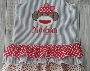 Baby Girl and Toddler Sock Monkey Ruffle Dress