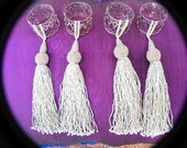 Napkin Rings-Silver Plated with Silver Glass Beaded Tassels-Set of Four-Reserved for Charlene