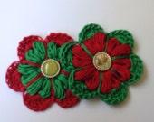 Crochet Christmas Flowers - Green & Red