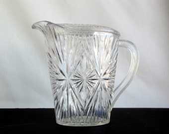 Vintage 1960s Clear Acrylic Pitcher Cut Work Design