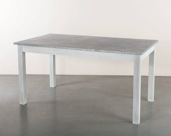 Zinc Top Dining Table - The Jamestown Zinc Dining Table White Wash Base Finish -Custom Sizes Available