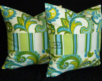 Decorative Pillows, Throw  Pillows, Pillow Covers, Accent Pillows -  Set of Two 18 Inch - Green, Blue , and White